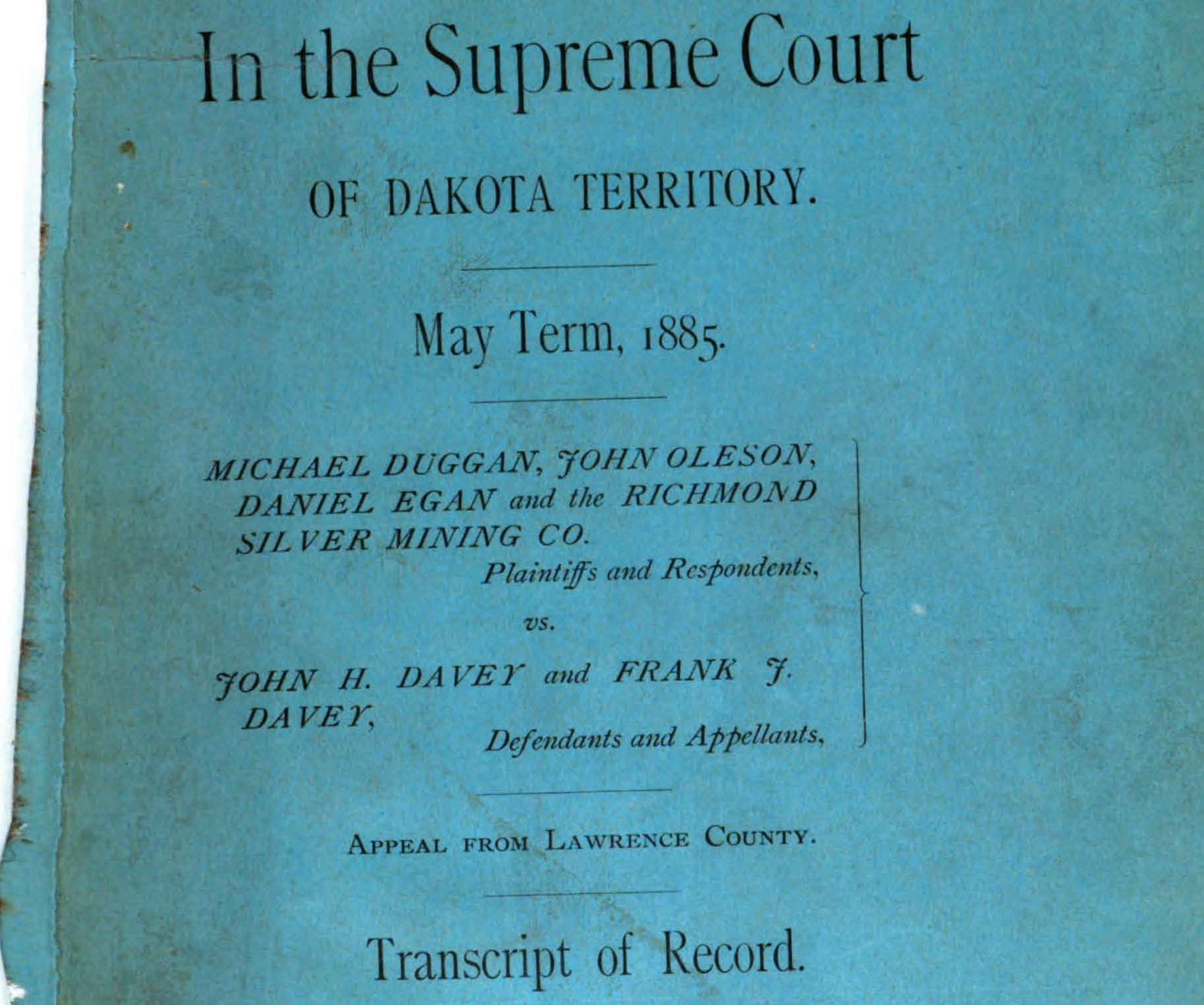 Cover of Richmond V. Davey appeal